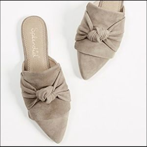 SPLENDID Bassett Knotted Pointy Toe Taupe Mules 7